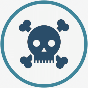 Icon that represents the irreparable consequences of unlicensed hair surgery. Skull and crossbones image.