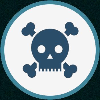 Ícono que representa las consecuencias irreparables de la cirugía capilar sin licencia. Imagen de cráneo y huesos cruzados.